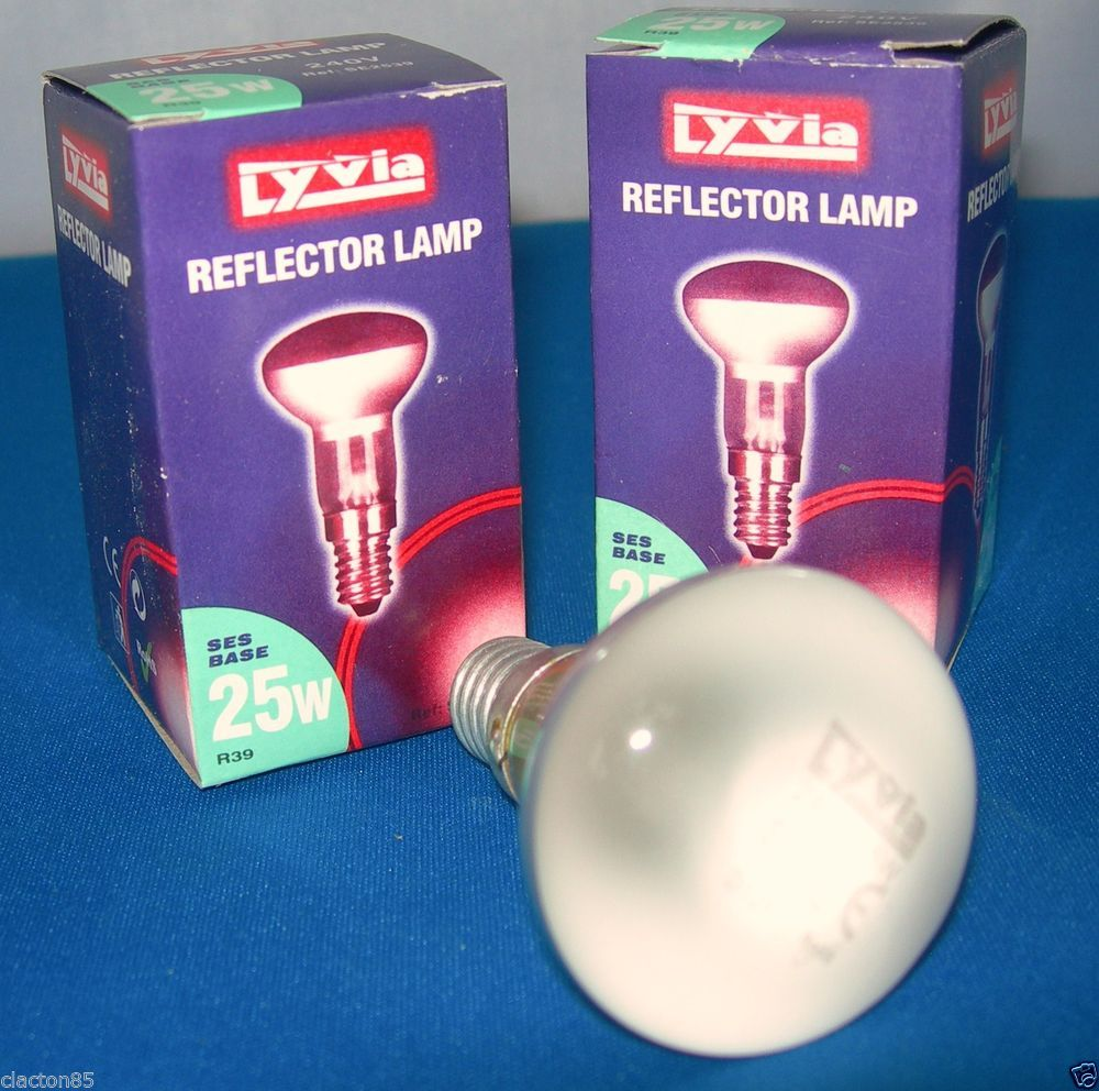 R39 25w Ses Small Edison Screw E14 Reflector Lava Spotlight Lamp Bulbs X 2 Lamp Bulb Spotlight Lamp Reflectors