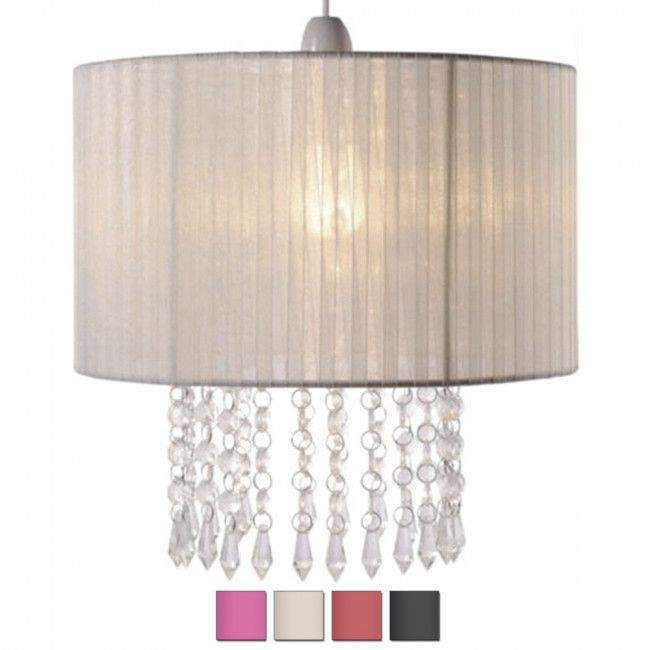 Modern Chandelier Style Ceiling Shade With Clear Droplets Cream Lamp Shades Pink Lamp Shade Lampshade Chandelier