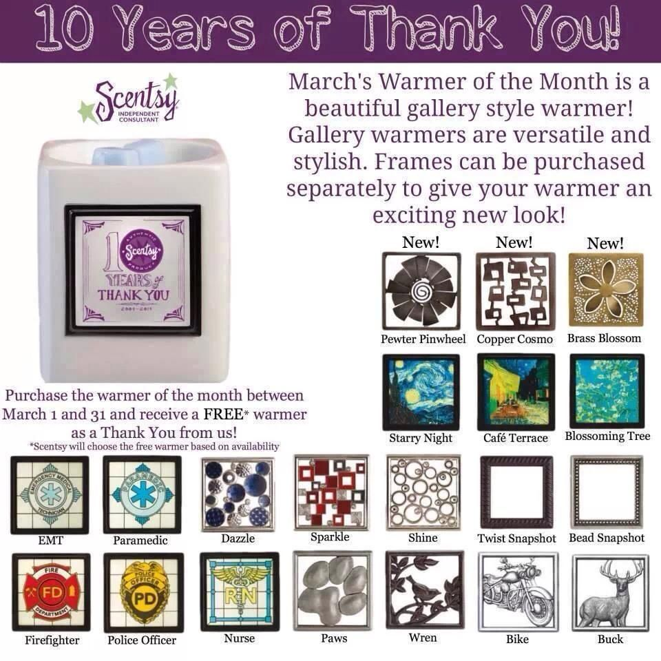 These frames all fit the March warmer of the month and are available for only $7.00... 1 Warmer of the Month and one mystery warmer for only $31.50 Visit my website today or contact me and I can help http://stephaniecox.scentsy.us