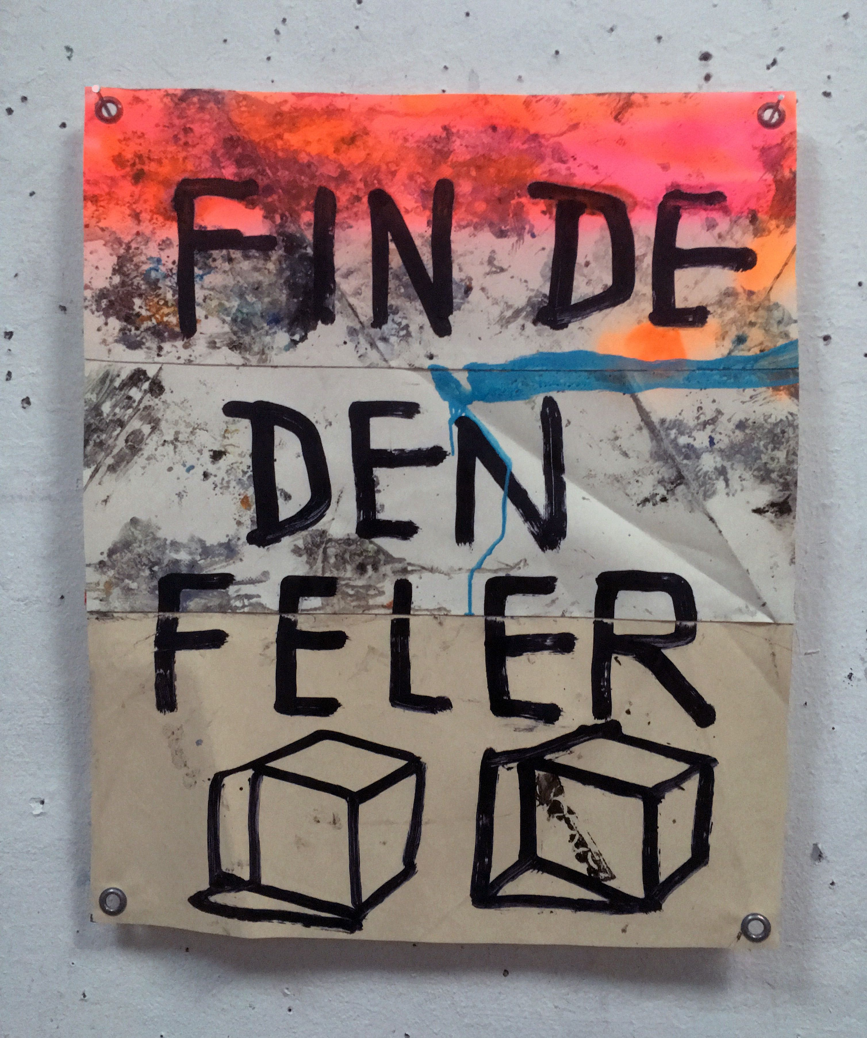 Hermann Josef Hack, FINDE, 161203, painting and spray paint on tarpaulin, 81 x 68 cm, 2016