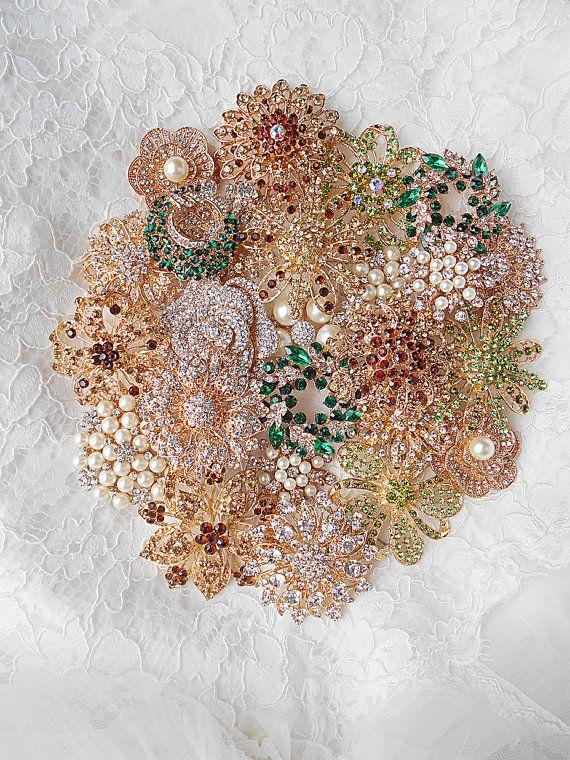 DIY Gold Brooch Bouquet Kit 25 Brown Emerald Brooch by ...
