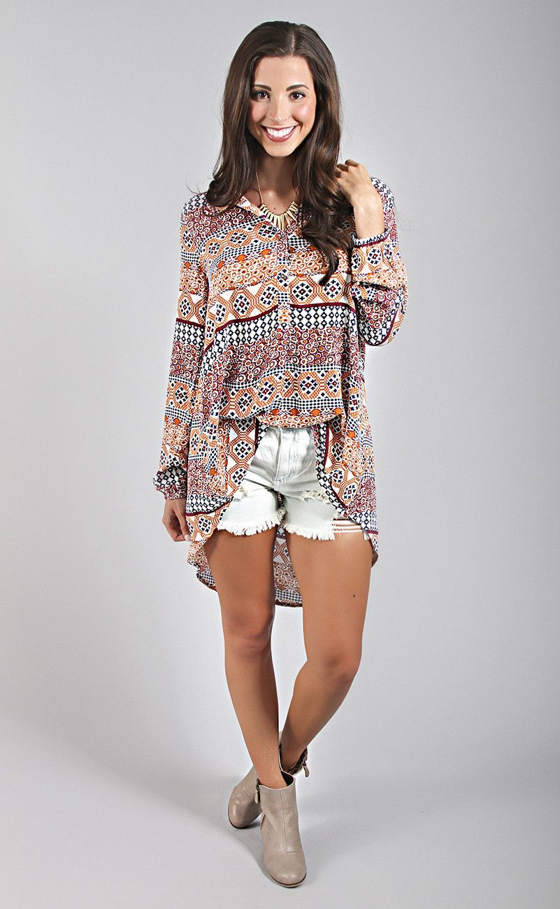 printed perfection tunic - camel