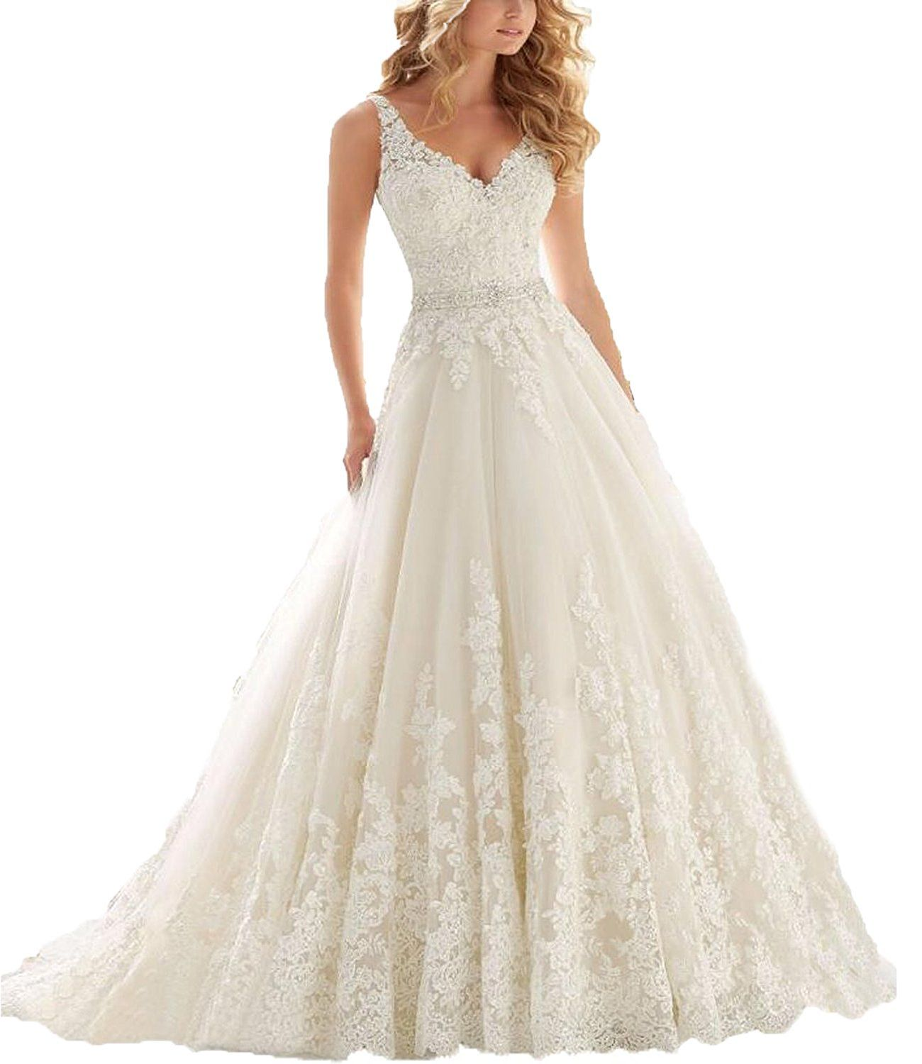 Ellenhouse womenus vneck empire wedding dress lace applique court