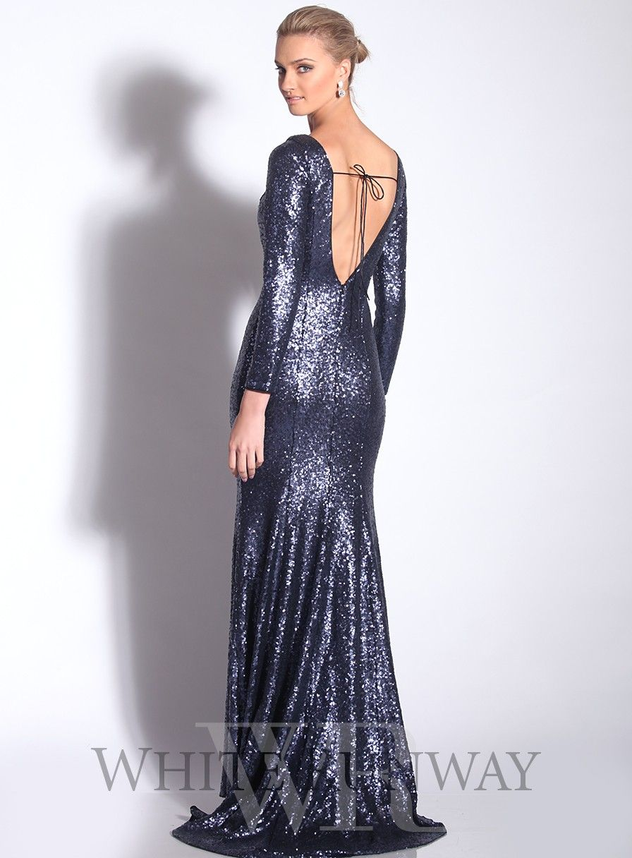Long Sleeve Sequinned Dress with Train by Jadore