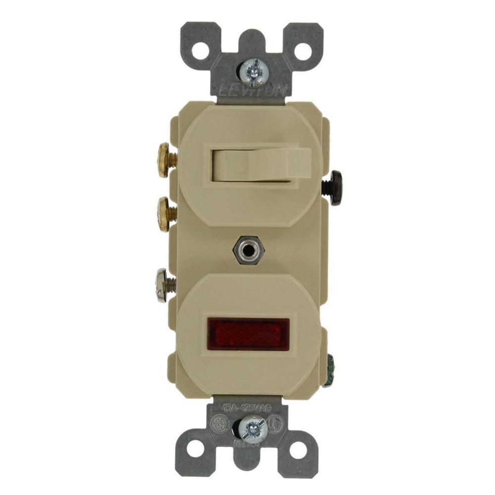 15 Amp Commercial Grade Combination 3 Way Toggle Switch Pilot Light Ivory