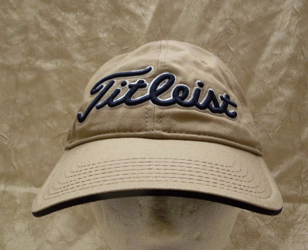 Cap · Titleist Khaki Hat with Blue Lettering Adjustable Golf ... efa6d79988cc