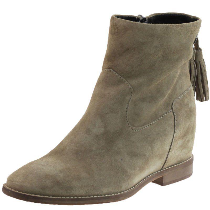 Botki Damskie Nessi 19603 Bezowe W1 Buty Damskie Botki Nieocieplane Shoes Boots Wedge Boot