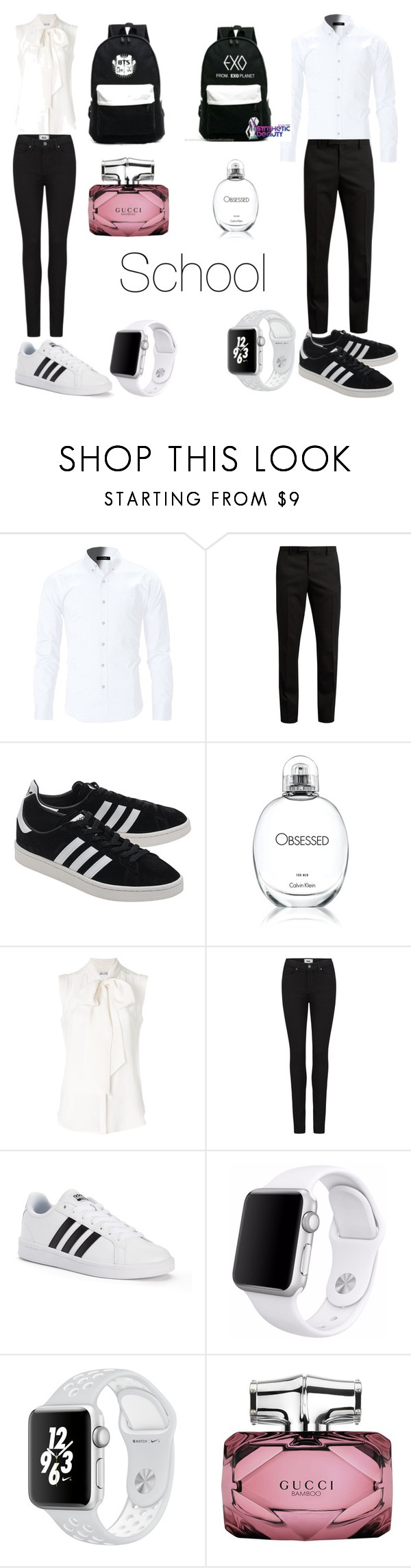 """""""Untitled #52"""" by explorer-14999030865 ❤ liked on Polyvore featuring Yves Saint Laurent, adidas Originals, Calvin Klein, MaxMara, Paige Denim, adidas, Apple and Gucci"""