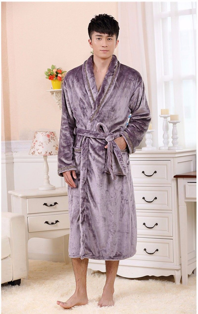 Autumn Luxury Long Flannel Bathrobe Men Women Kimono Waffle Bath Robe Male  Thick Sleepwear Mens Dressing b42862ecb
