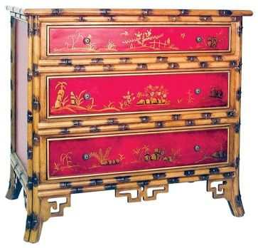 Asian Dresser Red Hand Painted Bamboo Chest Dressers Chests