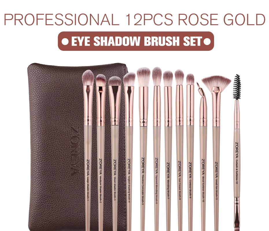 12pcs professional Makeup Brushes Black Color Eye Shadow