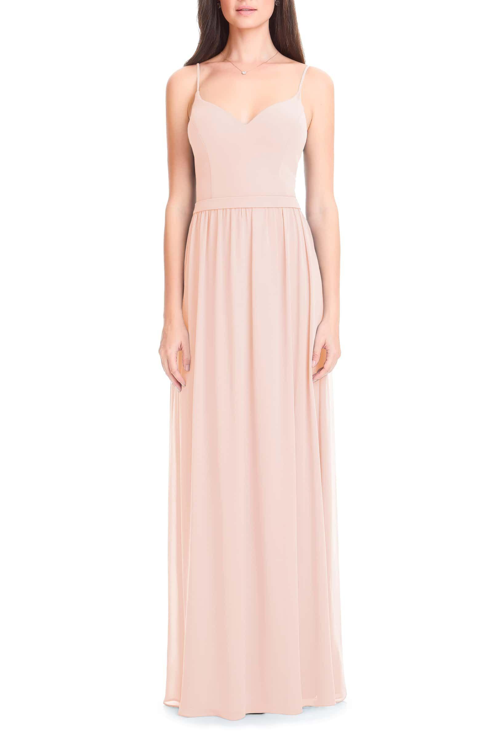 b4893d26948d Levkoff Chiffon Gown, Main, color, PETAL PINK   Bridesmaid dresses ...