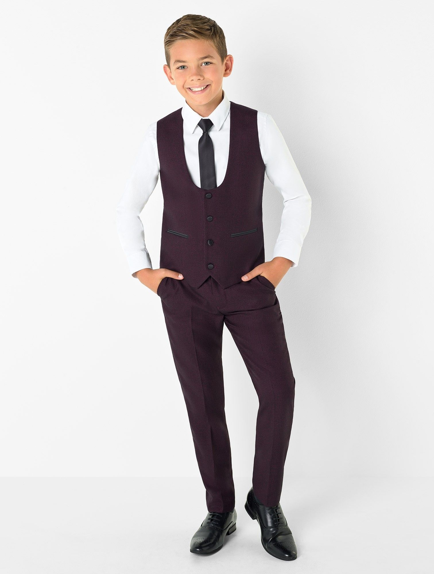 Boys burgundy tuxedo Jackman Kids wedding suits, Slim