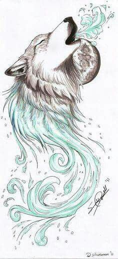 Moon Wolf Waves Howling Wolf Tattoo Wolf Tattoos Art Drawings Simple