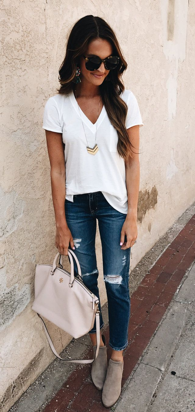 aa8c6bdbe4a04 #summer #outfits Best News EVER . This Boyfriend Jeans + The BEST $15 Tee  From Anniversary Sale Were JUST Restocked In All Sizes!!
