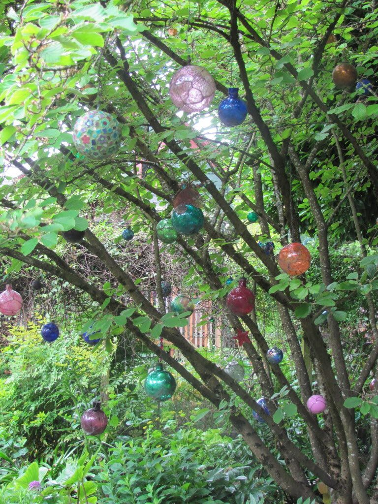 Glass Ornaments in Tree | Small Budget Gardening | Pinterest ...