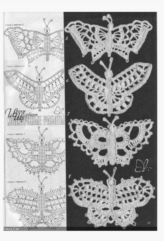 Mariposas | БАБОЧКА Вязание крючком BUTTERFLY Crochet | Pinterest ...