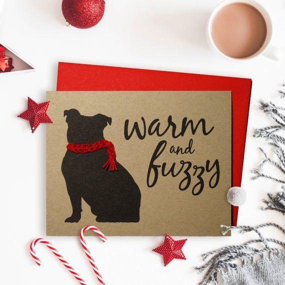 Photo of Bulldogge Weihnachtskarte, Hund Weihnachtskarte, Handgestrickter Schal, Einzelkarte, 4er-Set …