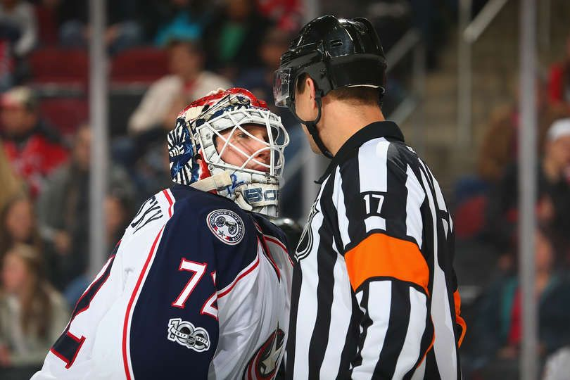 NEWARK, NJ - MARCH 05: Sergei Bobrovsky #72 of the Columbus Blue Jackets talks with Referee Frederick L'Ecuyer #17 during the game against the New Jersey Devils at Prudential Center on March 5, 2017 in Newark, New Jersey. (Photo by Andy Marlin/NHLI via Getty Images)