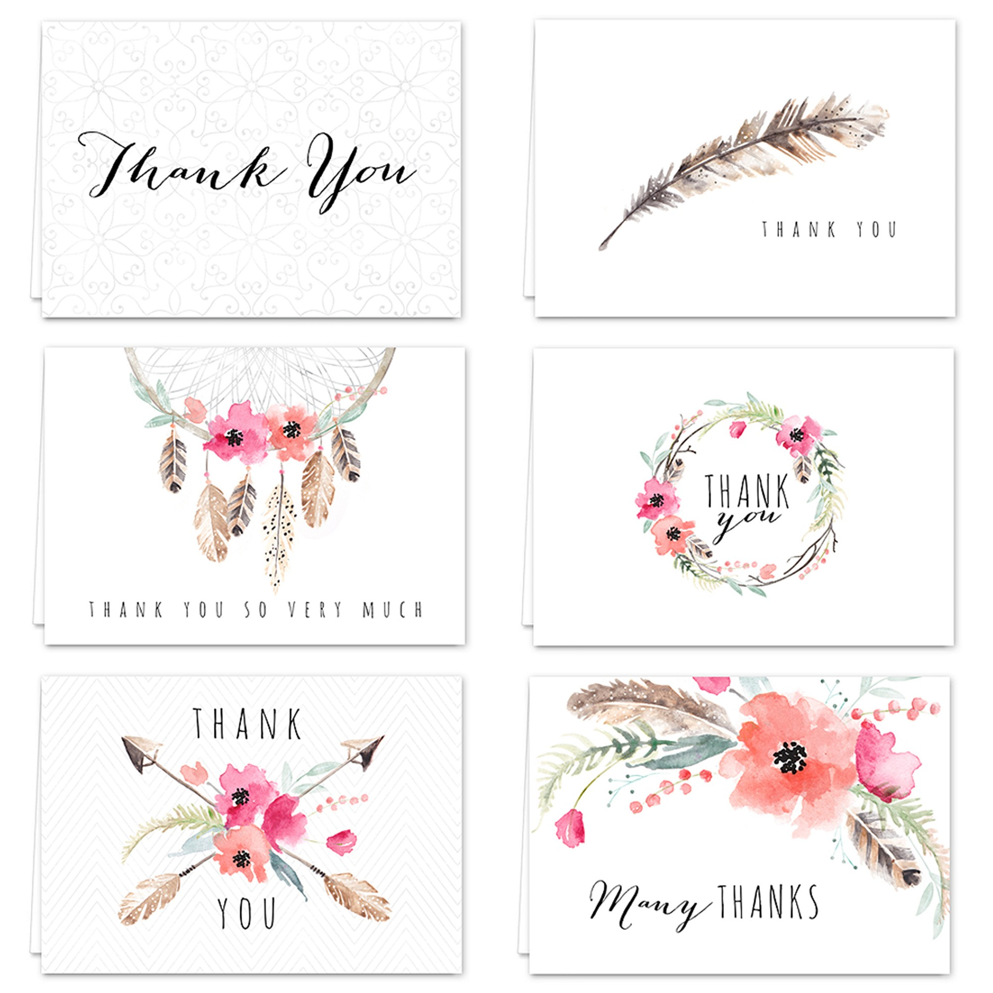 36ct bohemian theme thank you cards in 2020 thank you