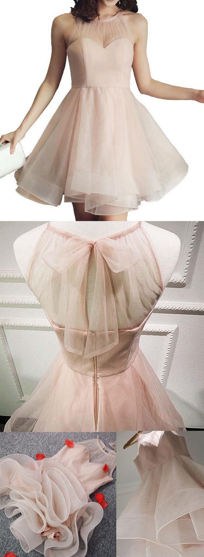 Bowknot prom dresses pink alineprincess prom dresses short pink