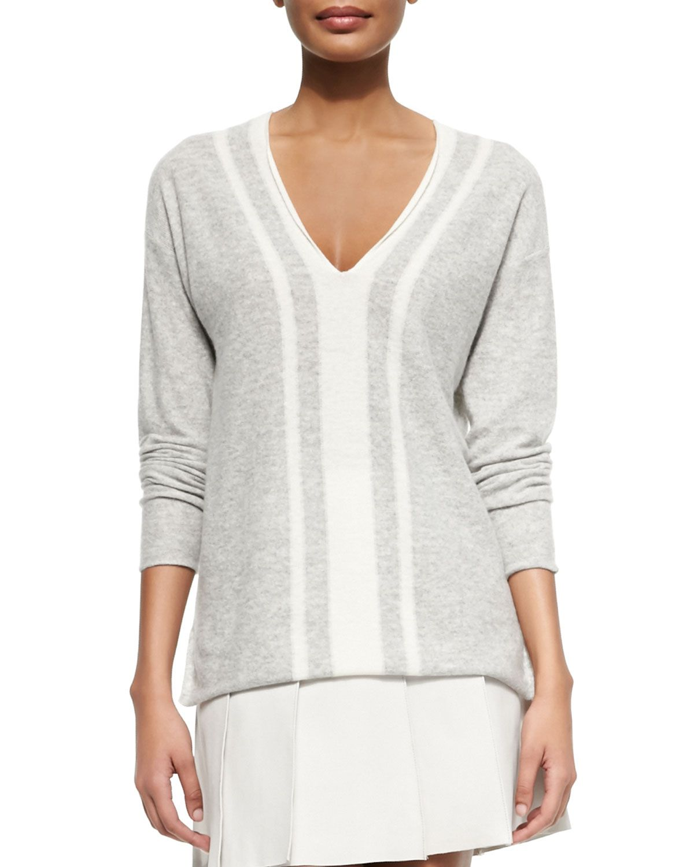 Cashmere Two-Tone V-Neck Sweater, Women's, Size: S, Oxfrd Blu/Blu Hzl - Vince