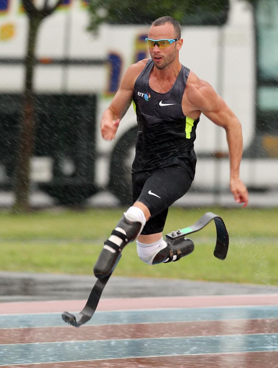Oscar Pistorius of South Africa, who wears carbon fibre