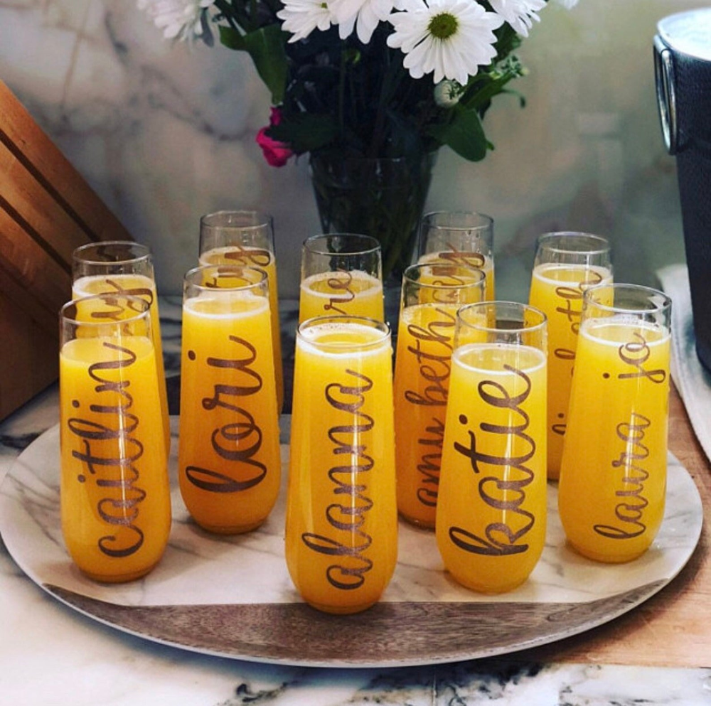 Tossware Bridal Flute Champagne Flutes Bachelorette Party Personalized Flute Stemless Champagne Flute Bridal Party Gift Wedding
