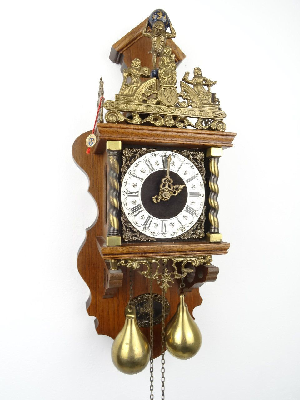 Antique Vintage Big Dutch Zaanse Warmink Clock With
