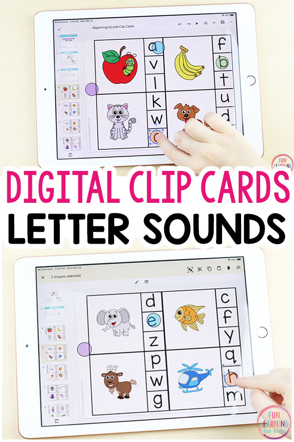 Digital Alphabet Clip Cards for Distance Learning