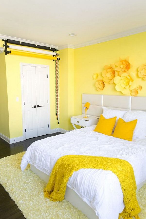 Yellow Bedroom With Wall And Pillow Yellow Room Decor Yellow Bedroom Decor Yellow Room
