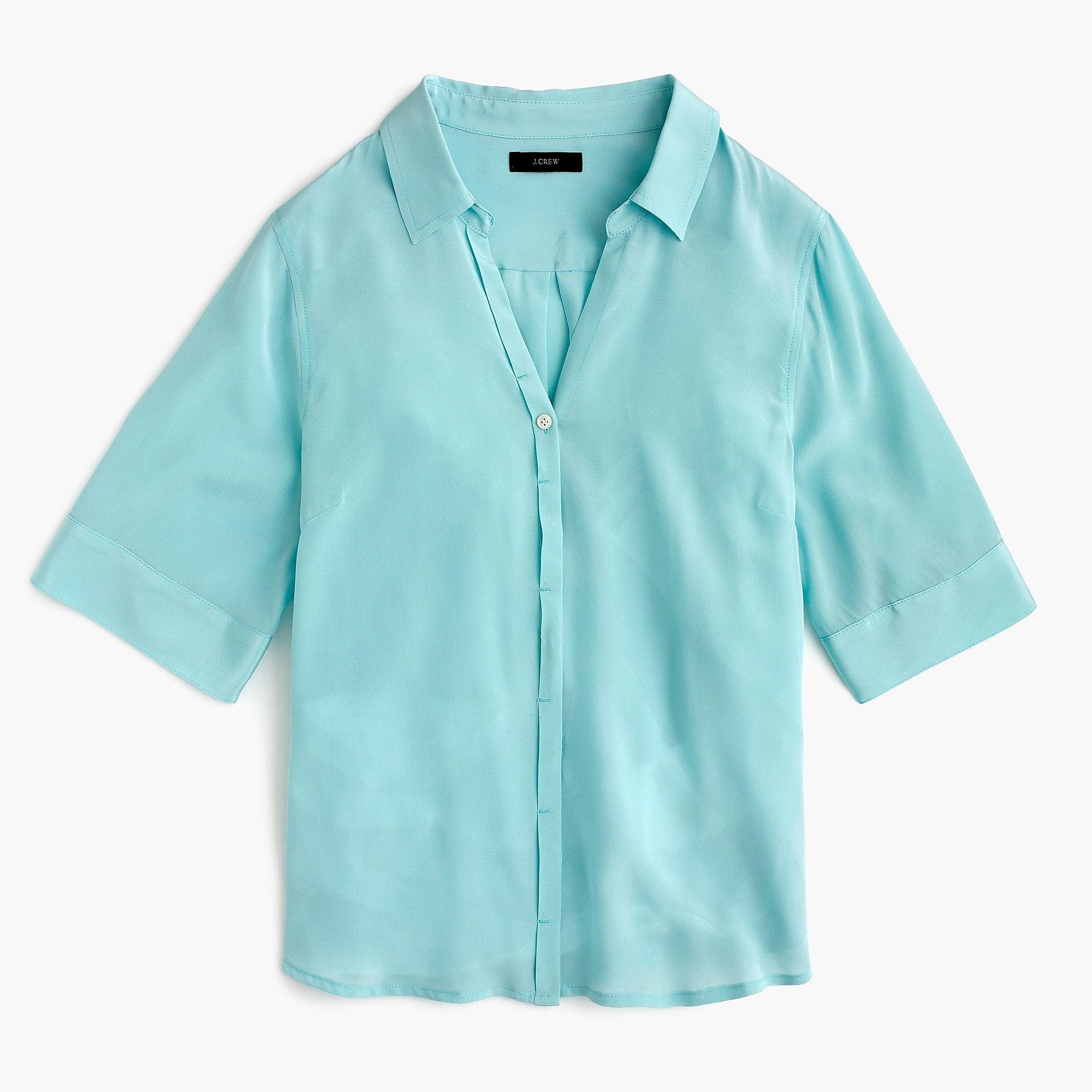 b61abb82356ad3 Women's Short-Sleeve Button-Up Shirt In Silk - Women's Shirts | J.Crew