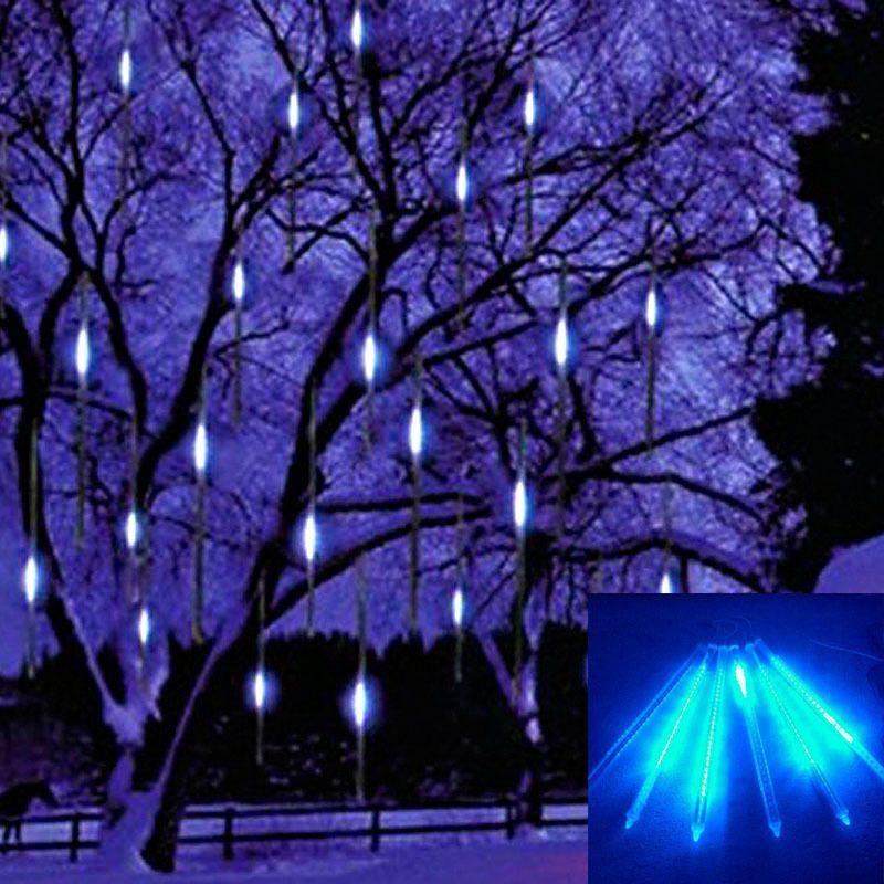 20CM 8 Tube 96 LED Snowfall Meteor Rain Tube Light Christmas Wedding Blue  Outdoor Tree Garden