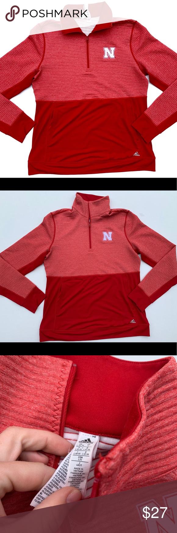 Adidas Nebraska Cornhuskers 1 4th Zip Pullover Sweatshirt Shirt Adidas Shirt Pullover [ 1740 x 580 Pixel ]