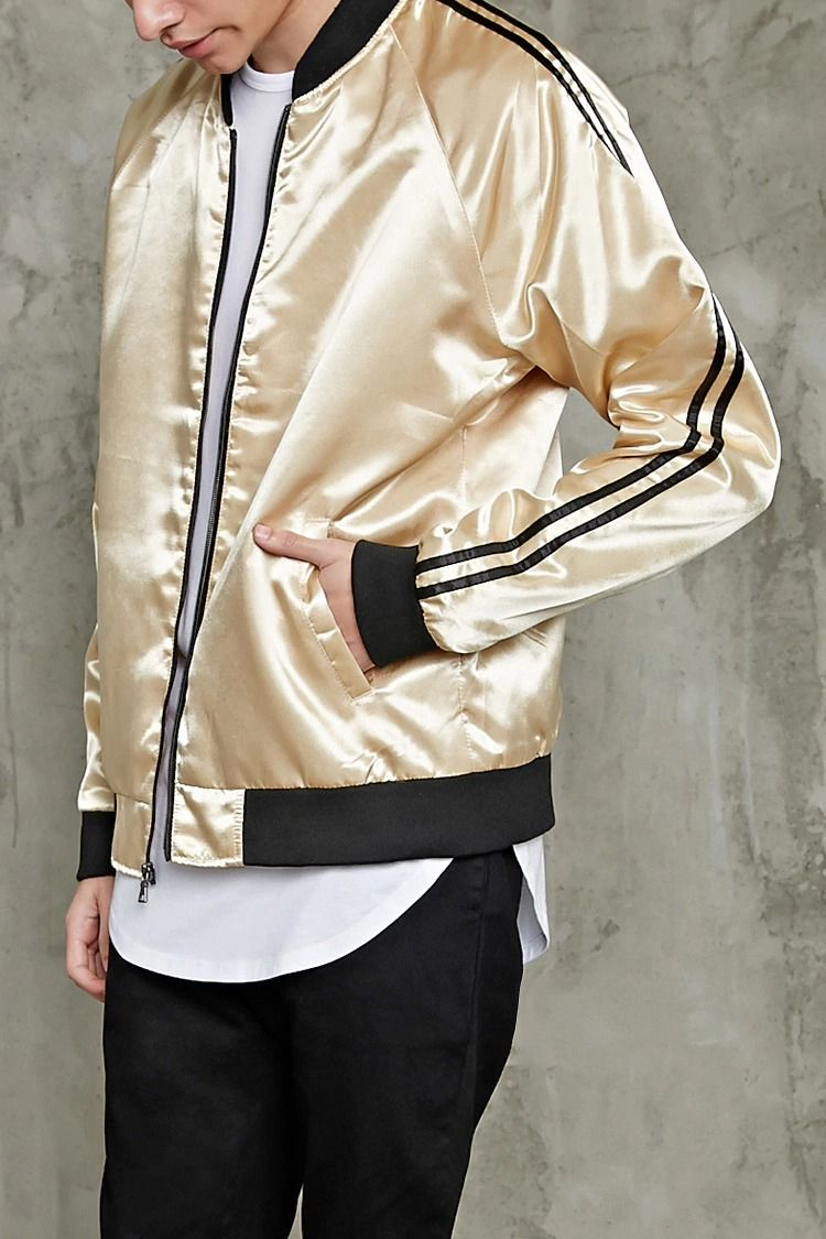Style Deals A Satin Bomber Jacket Featuring A Zip Up Front Contrast Ribbed Trim Striped Satin Bomber Jacket Mens Bomber Jacket Fashion Satin Bomber Jacket [ 1125 x 750 Pixel ]