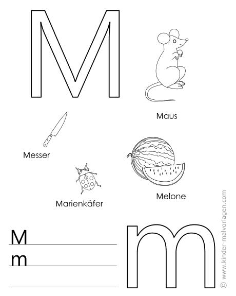 Buchstabe M Malvorlagen Alphabet Lernen Buchstaben Lernvorlagen Vorlage