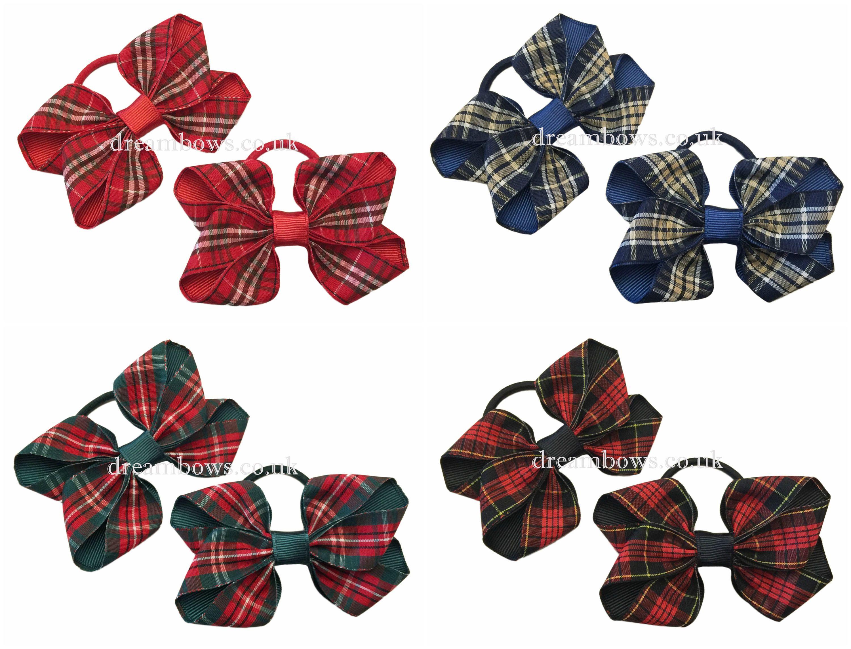 Girls tartan ribbon hair bows on thick bobbles, hair elastics, girls ...