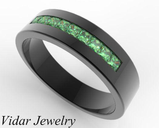 Mens Emerald Ring Emerald Ring Men Emerald Band Ring Etsy Black Gold Wedding Rings Black Gold Ring Blue Diamond Wedding Band