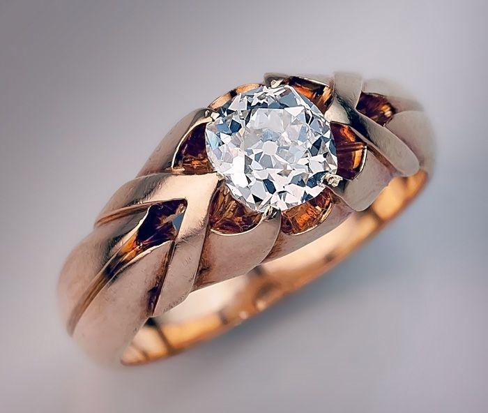 eff36277a7ee6 1 Carat Old Mine Cut Diamond Antique Men's Ring circa 1890 The 14K ...