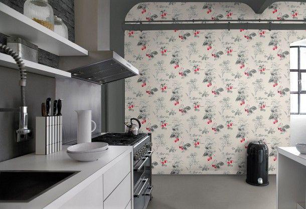 Rasch Aqua Deco 837513 weiss rot grau | Küche | Küchentapeten ...