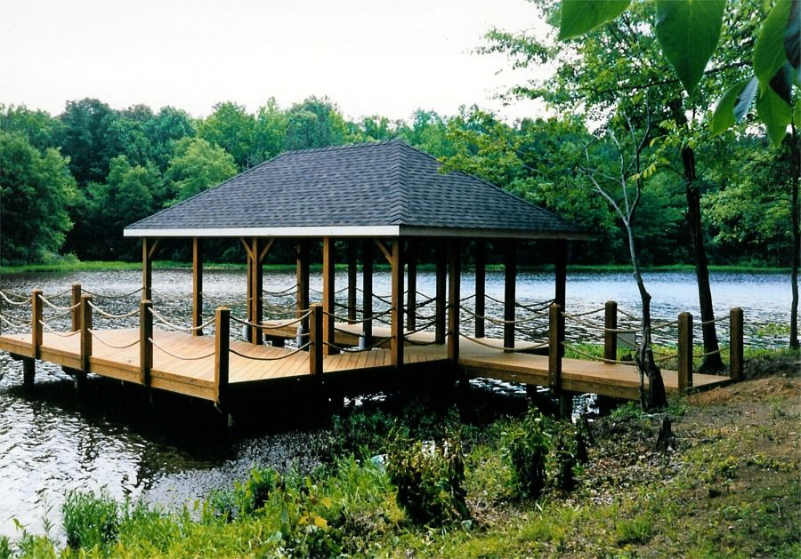 boat house and dock we built on a lake in central virginia pond