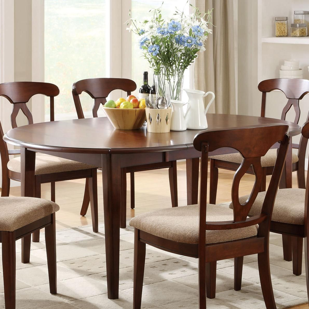 Liam Oval Top Formal Dining Table With 22 Extension Leaf And Drop