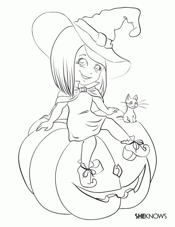 Cute Little Witch Girl Coloring