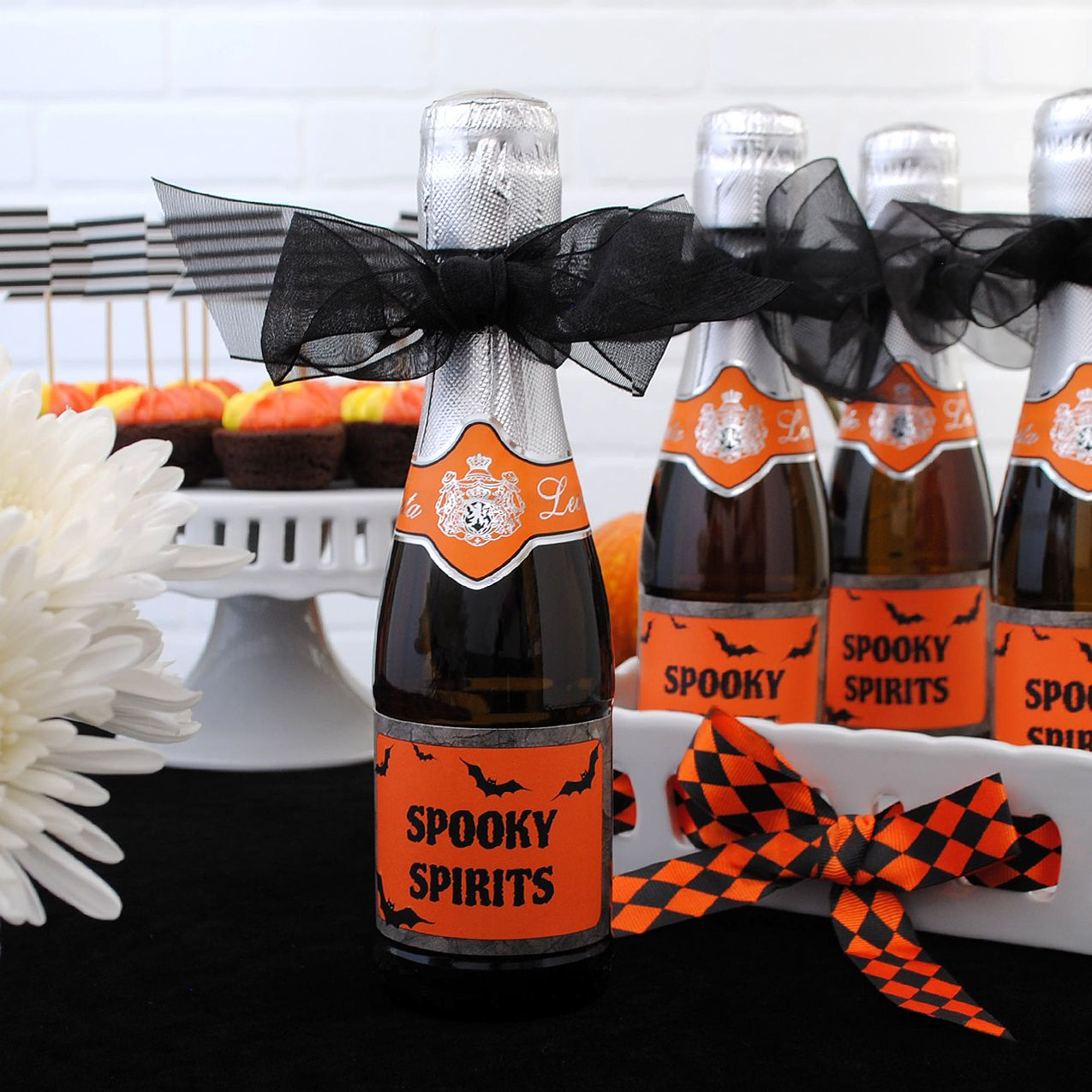 adult halloween party favors. mini prosecco bottles with mini custom