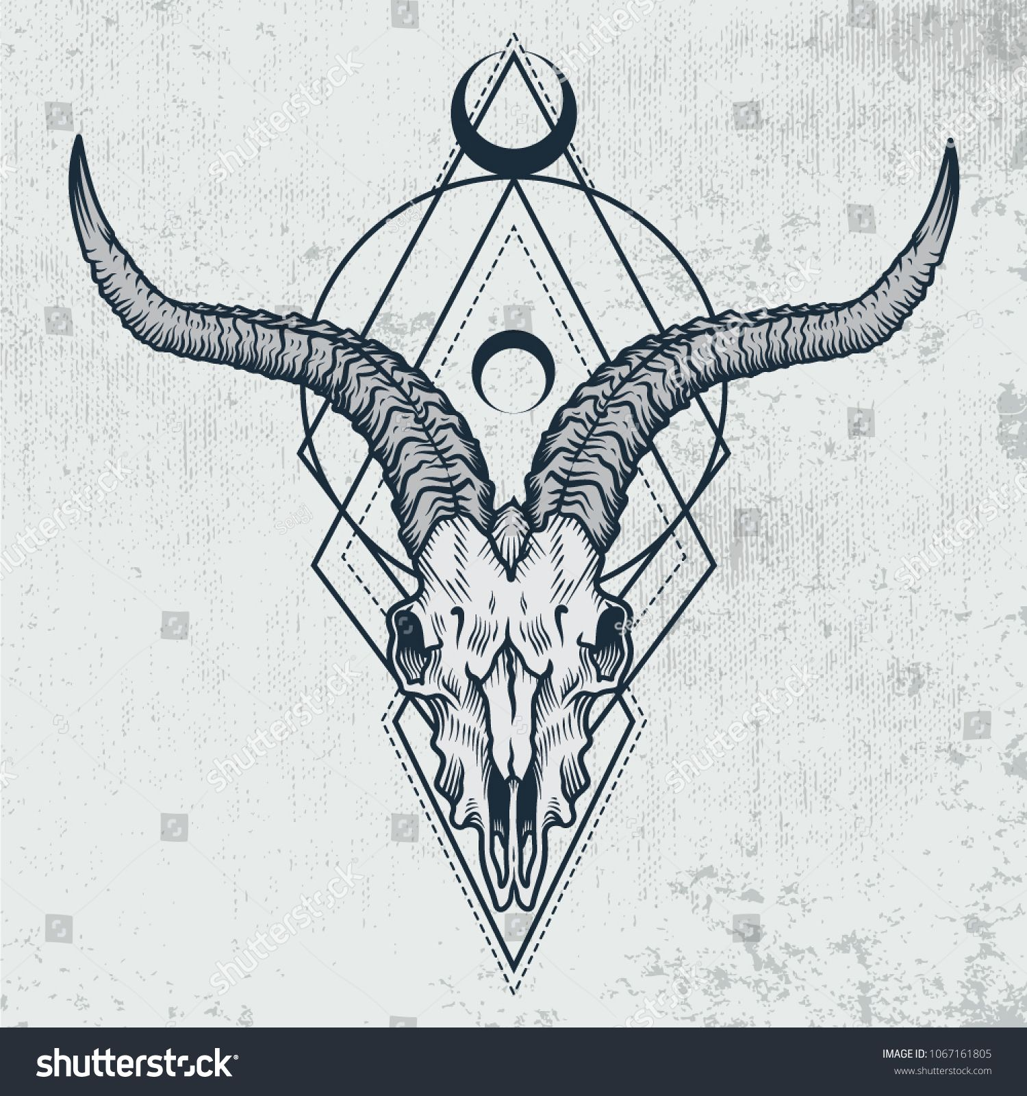 acb292f8d02ac Vector illustration of goat skull with sacred geometry shapes on grunge  background. Good for posters, t-shirt prints, tattoo design.