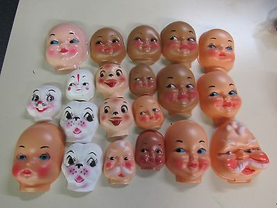 Lot of 5 Vintage Doll Crafting Clown Heads New Old Stock Scary Dolls Halloween