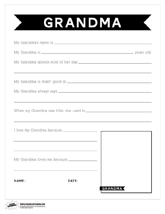 image regarding Free Printable Mother's Day Questionnaire called Printable Moms Working day Questionnaire for Grandma