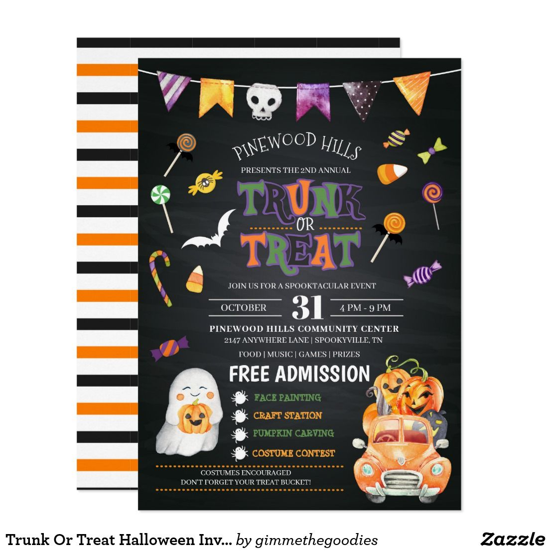 Trunk Or Treat Halloween Invitation