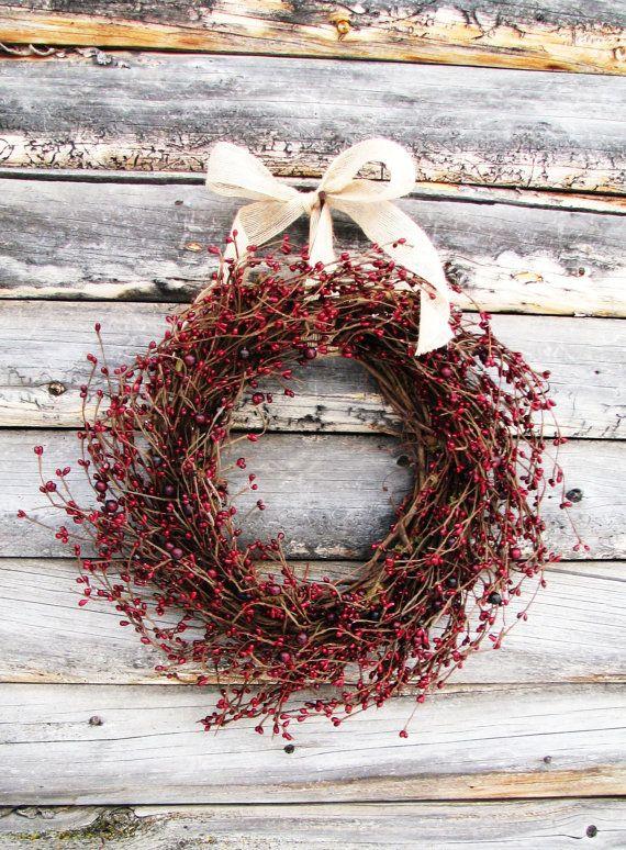 Primitive Country Wreath-Christmas Wreath-Rustic Farmhouse Decor-CRANBERRY RED Wresth-Scented Wreaths-Door Decor- Holiday Decor-Gift #Ästeweihnachtlichdekorieren