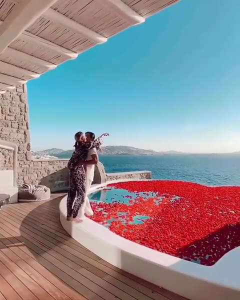 filled with rose petals in Mykonos 🇬🇷 Share this with someone you love ❤️